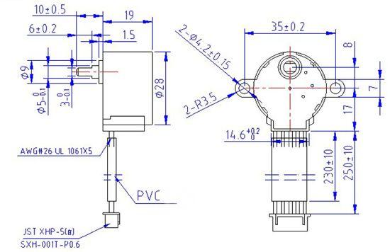 Sơ đồ kích thước động cơ bước 12V