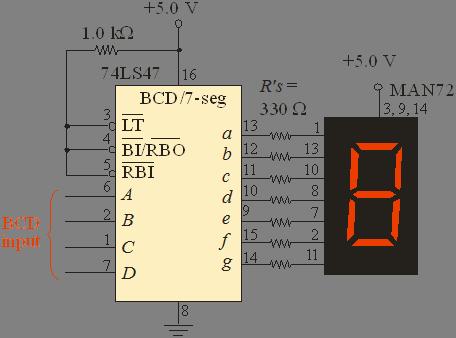 Sơ đồ kết nối 7447 với led 7 đoạn