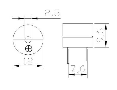 Sơ đồ kích thước còi chip 12V