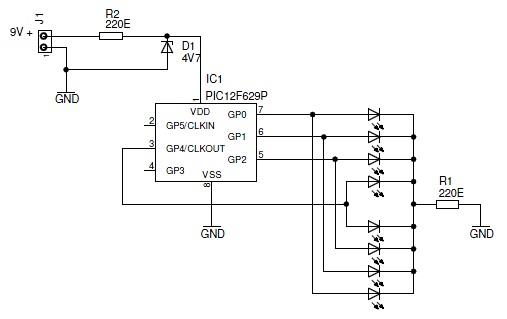 Sơ đồ điều khiển led với PIC 12F629